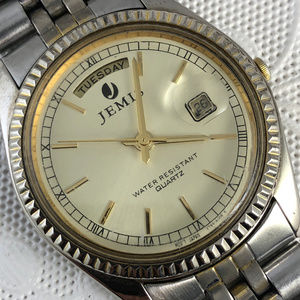 Vintage Jemis 2 Tone Gold Silver Watch Day Date